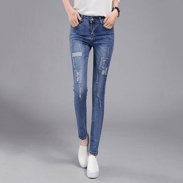 fd2a9ef3 High Waist Jeans woman Female Distressed Slim Patchwork Denim Pants Pencil  Ripped vintage Skinny Jeans For