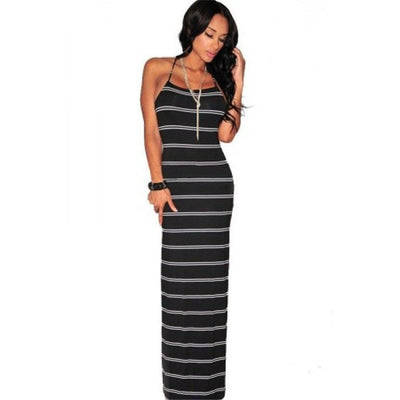 Online discount shop Australia - Fashion Dress Sexy Striped Bodycon Slim Dress Backless Sleeveless Casual Women Elegant Party Maxi Long Dresses