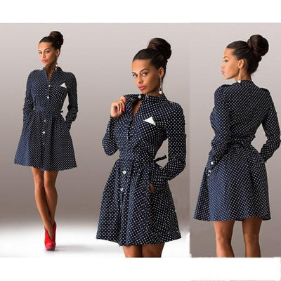 Women Female Dot Decoration Long Sleeve Thin Models Slim Sexy Mini Dress casual style Three colors tshirt dress 1203A