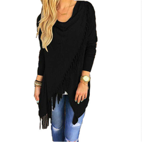 New Fashion Autumn Dress Casual Women Long Sleeve Slim Tassel Slash Winter Cotton Clothing Black Loose Dress