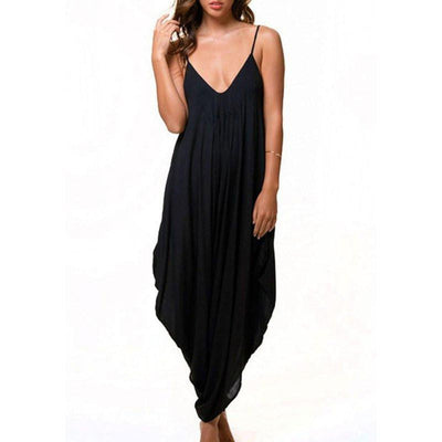 Women's V Neck Loose Baggy Fit Beach Party Jumpsuit Romper Harem Suit Higt Quality