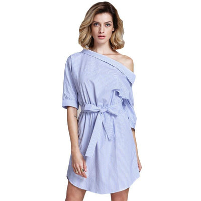 Spring Cute Brand Korean Designers Newest Women's Blue Half Sleeve Rayon Off The Shoulder Striped Shift Dress