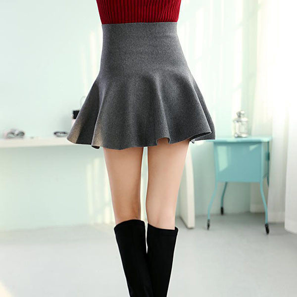 Online discount shop Australia - Casual Sexy Women Mini Skirt High Waisted Flared Pleated Jersey Plain Skater Short Knitted Elastic Skirt