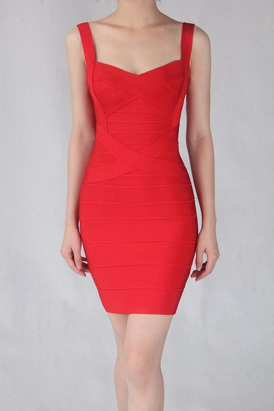 Women Sexy Spaghetti Strap Rayon HL Elastic Celebrity Bandage Dress Bodycon Mini Club Party Dresses