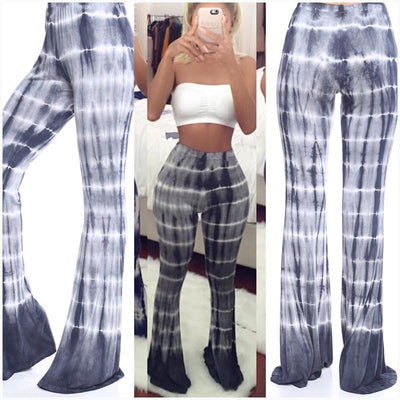 Women Ladies Vintage Regular High Waist Long Trousers Printed Casual Cotton Palazzo Mermaid Pants Wide Leg Pants pantalones