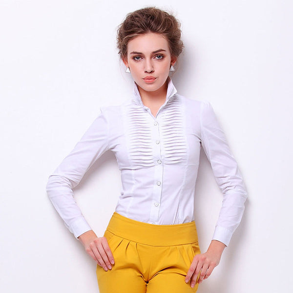 Online discount shop Australia - new arrival style Slim OL stand collar fold white black purple long women body shirt #4038