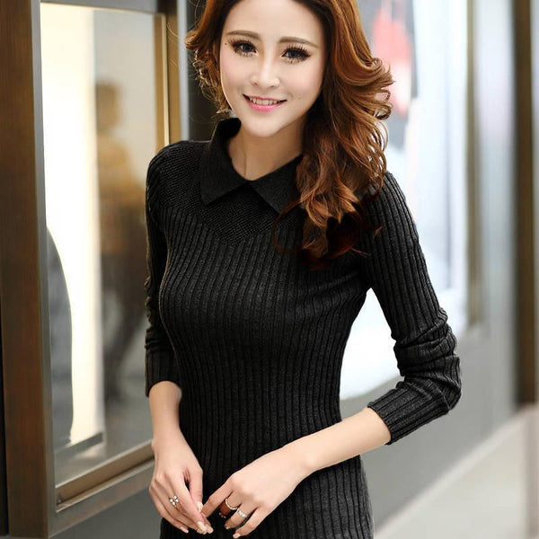 Women Sweaters and Pullovers Peter Pan Hollow Out Solid Knitted Sweater