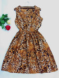 Women casual Bohemian floral leopard sleeveless vest printed beach chiffon dress
