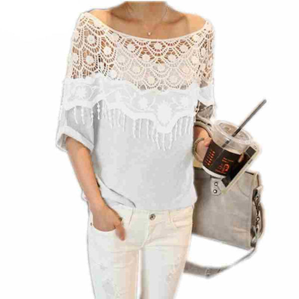 Women Hollow Lace Crochet Cape Collar Tops Batwing Sleeve Shirt O Neck Tops Tee Plus Size