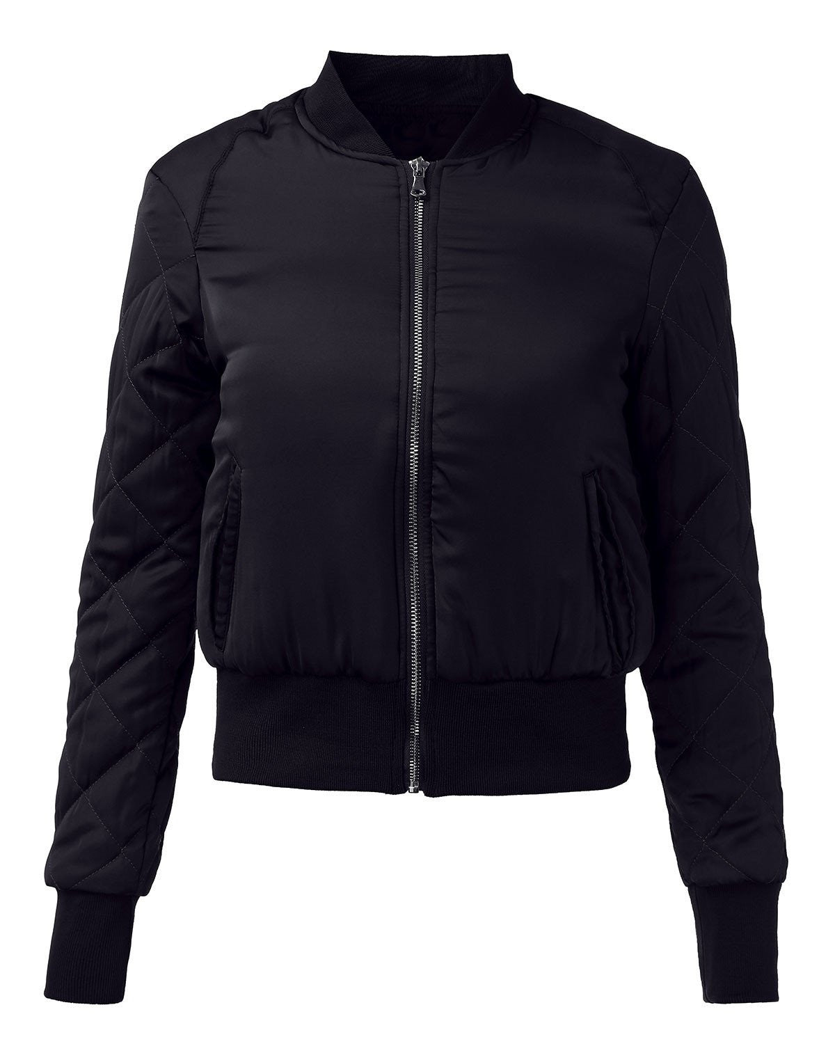 Warm Womens Quilted Jackets Short Thick Fleece Padded Bomber Jacket Coat Pilots Outerwear Tops Plus SizeNavySa