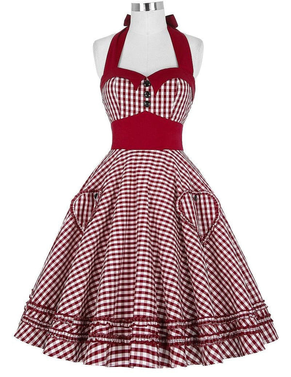 f694831b0637 Women Dress Plus Size Summer Clothing Retro Swing Short Gown robe Pin up  Plaid Vintage 60s