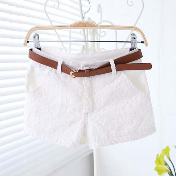 1a68138d24e Lace Shorts Women New Sexy Short With Belt Fashion Casual Mid Waist  Exquisite Casual Short Pants