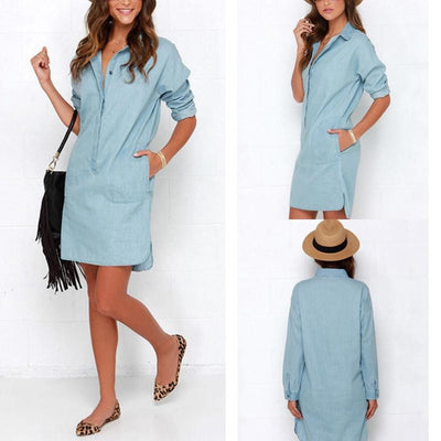 Women Washed Denim Jean Dress Loose Casual Long Sleeve Shirt Dress Autumn