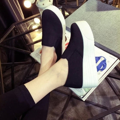 Style women platform shoes woman flats loafers canvas espadrilles slip on Ladies Creepers thick sole ev