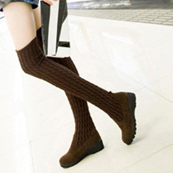 0679f047361 Women Boots Ladies Fashion Flat Bottom Boots Shoes Over The Knee Thigh High  Knitting wool Long