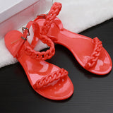 Online discount shop Australia - Flip flops new plastic chain beach shoes candy color jelly sandals chain flat bottomed out sandals Shoes women