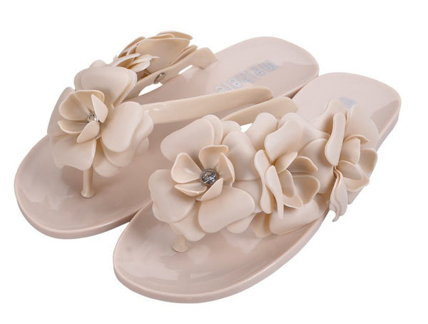 New Women Sandals With Beautiful Camellia Flower Sweet Flip Flops XWZ455