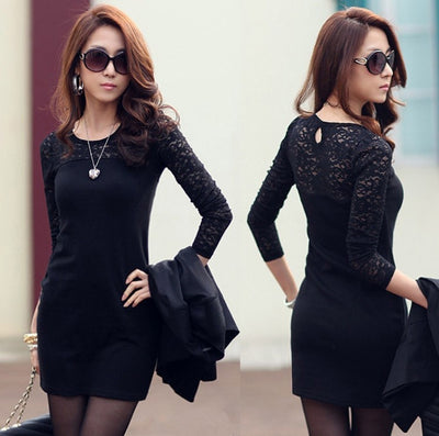 Vestidos Womens Sexy Lace Splice Package Hips Slim Skinny Mini Dress Long Sleeve Bodycon Office Lady Dress CY1015