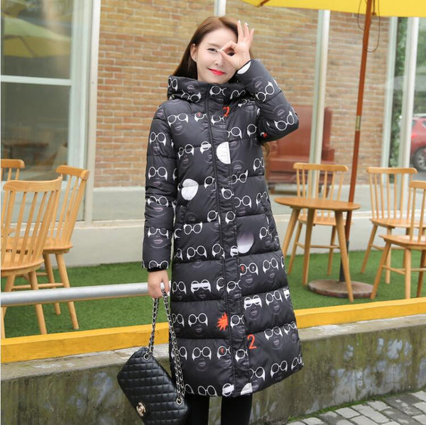 Online discount shop Australia - Fashion  Cotton Padded Jacket Women Slim Thick Stars Print Female Coat Parka Warm Long Jackets Ladies Overcoat