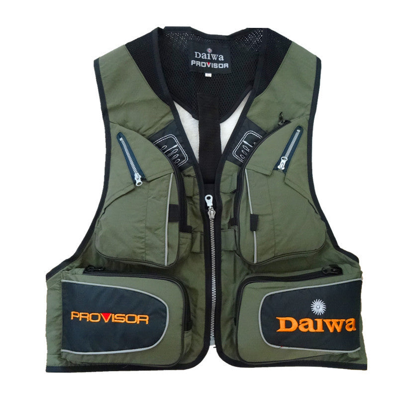 Black Fly Fishing Vest Outdoor Sleeveless Jackets Camping Fishing Photography Vests with Mulit-pocket Clothes for OutdoorArmy Green4XLa