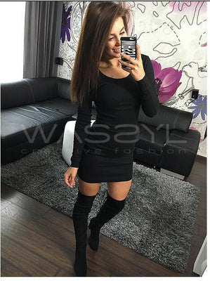 Women Autumn Winter Sexy Dresses Lady Sexy Slim Mini Vestidos Beach Dress Red Black Gray Plus Size