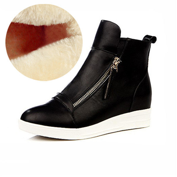 d44b4d253d Fashion Wedges Ankle Boot Causal Shoes For Woman Fall Women Shoes Leather  Black Silver Red Botas
