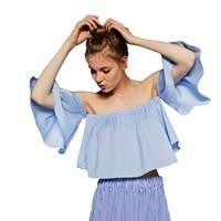 Women Blouses Solid casual Sexy Flare off shoulder Sleeve Strapless Tops plus size Blouse