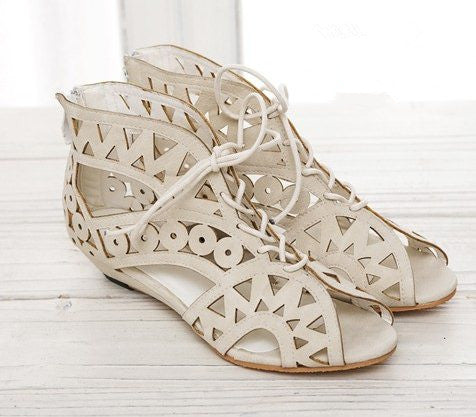 Online discount shop Australia - Big Size 31-43 Fashion Cut Outs Lace Up Women Sandals Open Toe Low Shoes Beach shoes women AA516