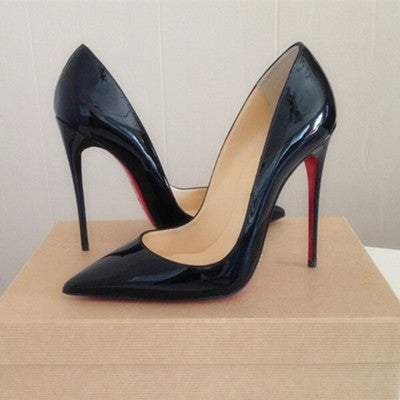 Top Quality Women Pumps Cow Muscle Red Bottom High Heels Sexy Pointed Toe  Red Sole Wedding