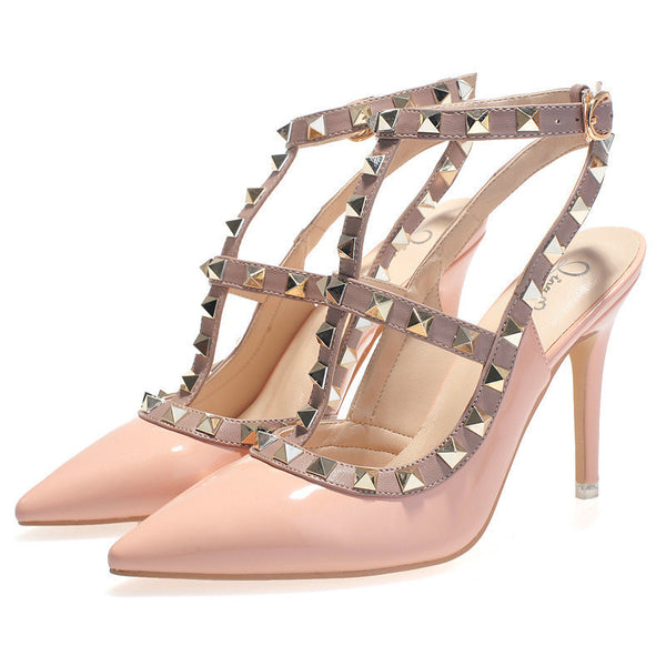 8e10e24eb High Quality Brand Designer Rivet Shoes 10cm Patent Leather Studded Sling  back Heels Sandals Sexy Women