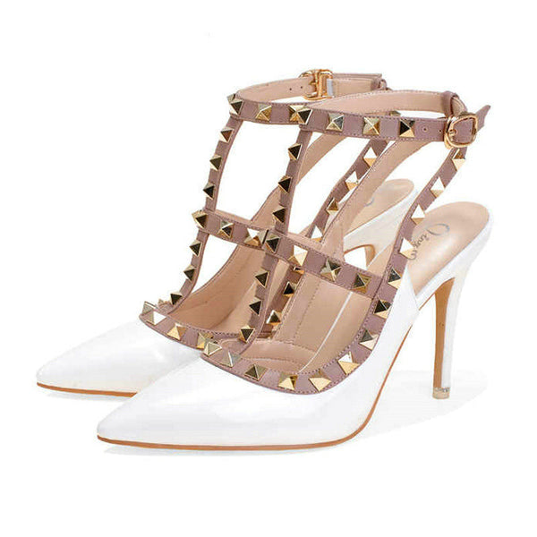 Online discount shop Australia - High Quality Brand Designer Rivet Shoes 10cm Patent Leather Studded Sling back Heels Sandals Sexy Women High Heels Sandals Pumps