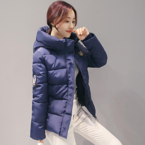 Woman Hooded Down jacket Warm Thick Coat Slim Thin Cotton jacket Large size High-quality Cotton coat AB72