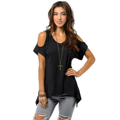 New Women Off Shoulder Shirt Casual Loose T-shirts Soft Cotton Tops