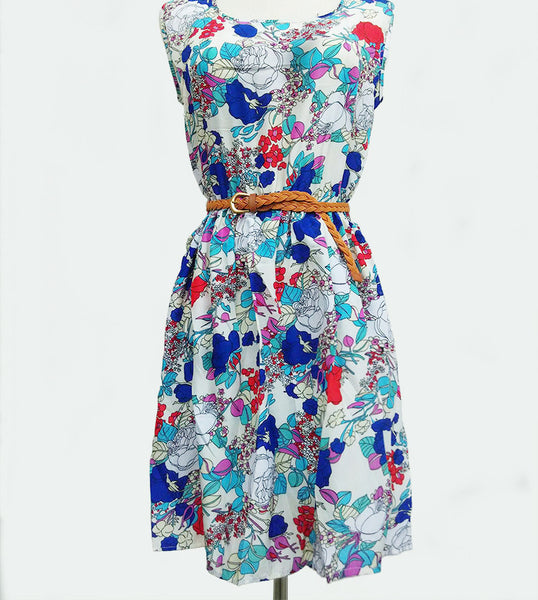 Online discount shop Australia - 20 Colors Fashion Women New Sleeveless Round Neck Florals Waistband Print Dress