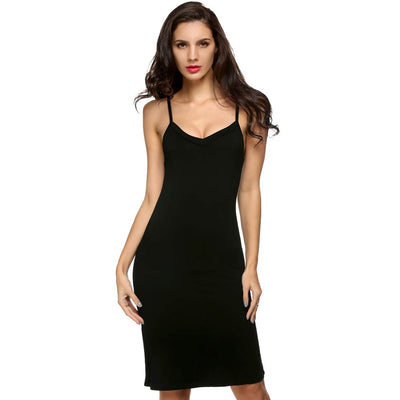 Online discount shop Australia - Ladies Women Casual Sexy Strap Slip Sleeveless V Neck Solid Bottoming Straight Dress Black White Nude size S M L XL XXL