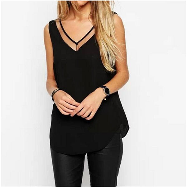 Women Chiffon Mesh Patchwork Sexy V-Neck Tops Casual Loose Sleeveless Shirts Blouse