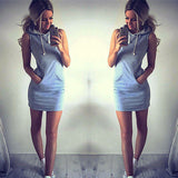 Online discount shop Australia - Boho Sexy Women Sleeveless Hoodie Summer Beach Short Mini Dress