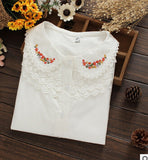 Online discount shop Australia - Embroidered collar color white cotton long sleeve shirt women blouse ladies office shirts