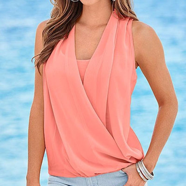 7271889948a Blouses Women White Sleeveless Chiffon Blouse Sexy Deep V Neck Chiffon Knit Vest  Casual Women s Shirt