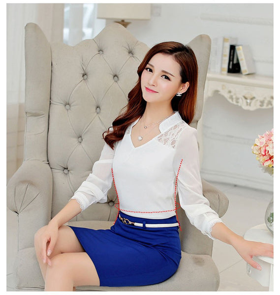Online discount shop Australia - Fashion Women Blouse Elegant Office Long Sleeve Shirt Slim Crochet Hollow Lace Blouses Female  LJ1273C