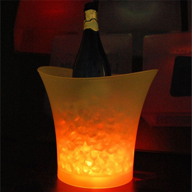 5L Waterproof Plastic LED Ice Bucket Color Changing Bars Nightclubs LED Light Up Champagne Beer Bucket Bars Night PartyYellowa
