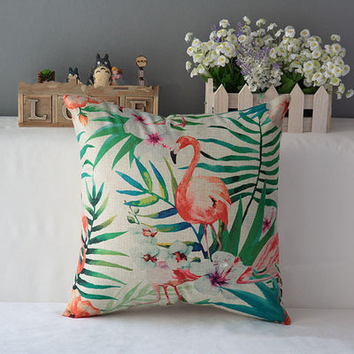 Online discount shop Australia - Flower Flamingo Series Cushion Cover Printed Square Pink Flamingo Cotton Linen Sofa Animal Home Decorative Throw Pillow Cover