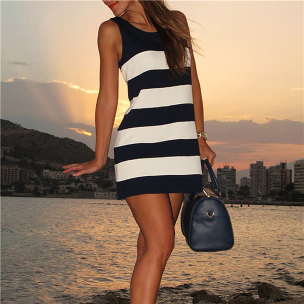 Online discount shop Australia - Ladies Tank Dresses Casual New Summer Style Women's Striped Crew Neck Color Block Sleeveless Straight Mini Dress