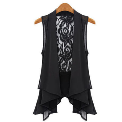 New Fashion Ladies Casual Lace Shirts Chiffon Vest Tops 2Colors