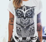 Women Short Sleeve Printed Retro  Owl And Palm Eye T Shirts Plus Size 2XL Tee Shirt