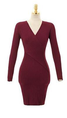V-neck winter package hip cultivate one's morality knitted dress