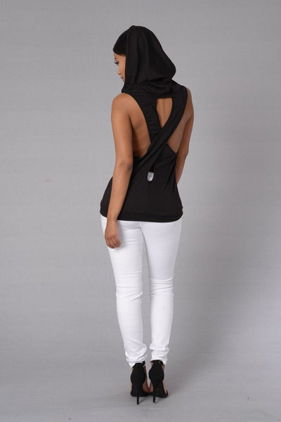 Online discount shop Australia - Fashion Women Tank Tops Hooded Back Cross Hollow Street wear Sleeveless Vest for women PP800E