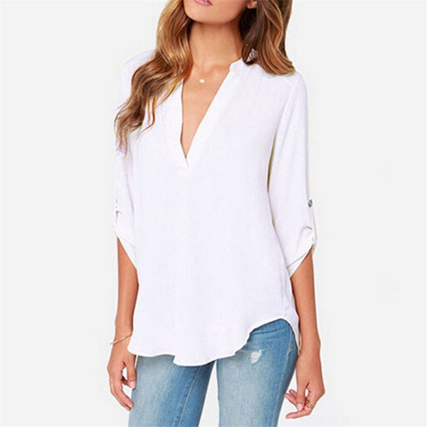 Online discount shop Australia - 9 colors Trendy S-5XL Plus Size Women Blouses Ladies Office Shirts Long Sleeve Top Women Clothing