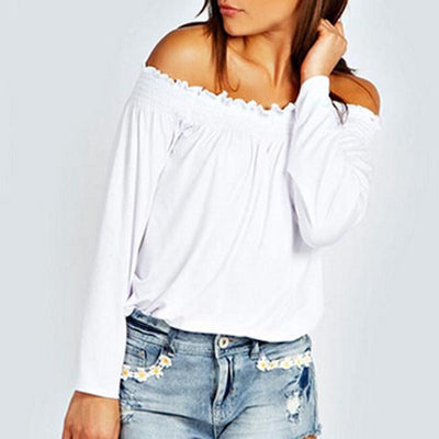 Sexy Women Ladies Solid Shirred Off Shoulder Tops Casual Long Sleeve Blouse Shirt Plus Size
