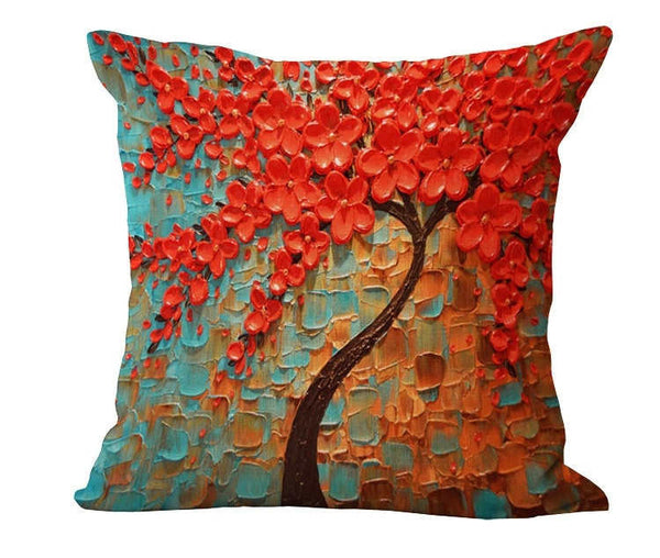 Online discount shop Australia - Cushion Cover Vintage Flower Pillow Case Mural Yellow Red Tree sweet Cherry Blossom Home Decorative Throw Pillow Cover